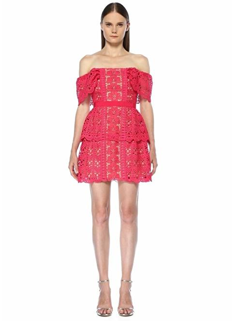 Self Portrait Düşük Omuzlu Dantelli Mini Elbise Fuşya
